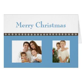 Flocon de neige de Noël (bleu) Carte De Vœux