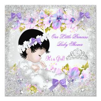 flocon de neige de pourpre de rose de fille de carton d 39 invitation 13