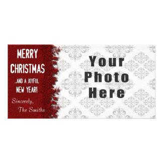 Flocon de neige de rouge de Joyeux Noël Photocartes