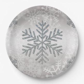 Flocon de neige de vacances avec le scintillement assiettes en papier