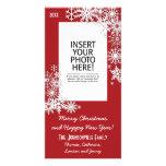 Flocon de neige de vacances de Noël - rouge Photocarte Personnalisée