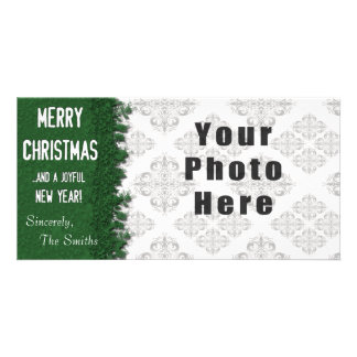 Flocon de neige de vert de Joyeux Noël Modèle Pour Photocarte