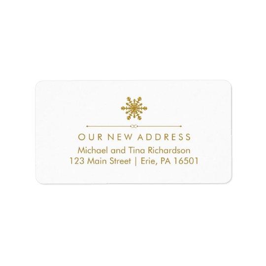 Flocon de neige fascinant d'or de nouvelle adresse étiquettes d'adresse