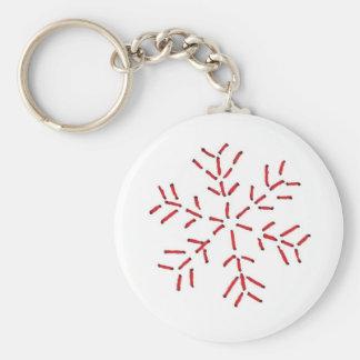Flocon de neige - points rouges porte-clé rond
