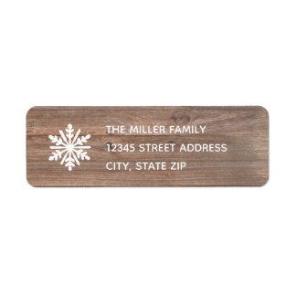 Flocon de neige rustique - étiquette de adresse de