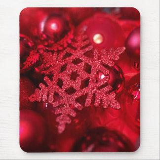 Flocon de neige scintillant rouge tapis de souris