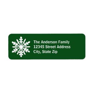 Flocon de neige vert et blanc - étiquette de