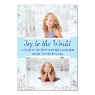 Flocons de neige blancs/bleus 2 photos - carte carton d'invitation 8,89 cm x 12,70 cm