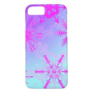 Flocons de neige dansant loin du coque iphone