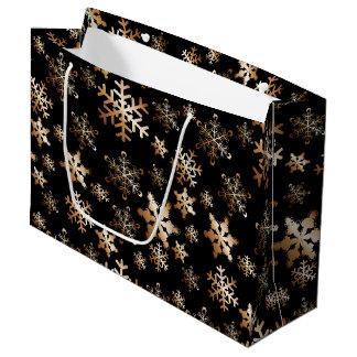 Flocons de neige de cuivre sur le grand sac noir