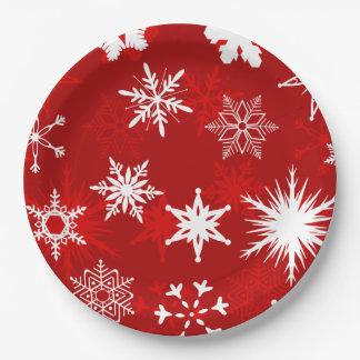 Flocons de neige de fête de Noël Assiettes En Papier