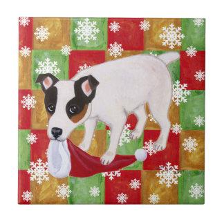 Flocons de neige de Noël de Jack Russell Terrier Petit Carreau Carré