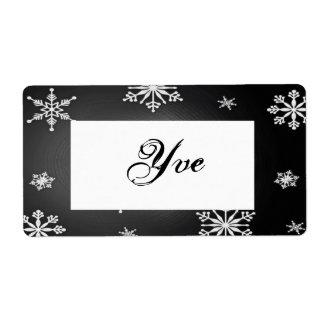 Flocons de neige de Noël noirs et modèle gris I Étiquette D'expédition
