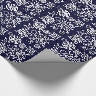 Flocons de neige de papier (bleu-foncé/blanc) papier cadeau