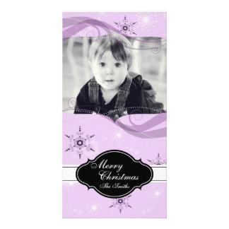 Flocons de neige de rose de carte photo d'enfant cartes de vœux avec photo