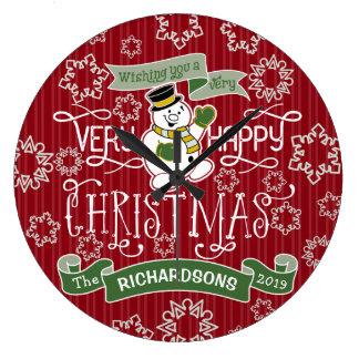 Flocons de neige de typographie de Noël heureux de Grande Horloge Ronde
