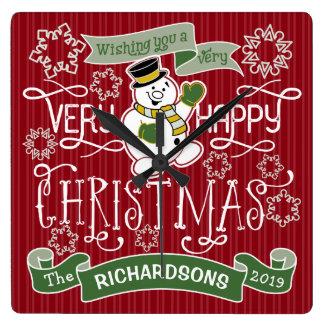 Flocons de neige de typographie de Noël heureux de Horloge Carrée