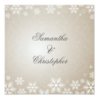 Flocons de neige et mariage damassé carton d'invitation  13,33 cm