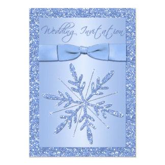 Flocons de neige IMPRIMÉS de bleu glacier d'ARC Carton D'invitation 12,7 Cm X 17,78 Cm
