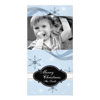 Flocons de neige lunatiques de bleu de carte photo photocarte