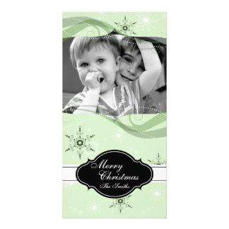 Flocons de neige lunatiques de vert de carte photo photocartes personnalisées