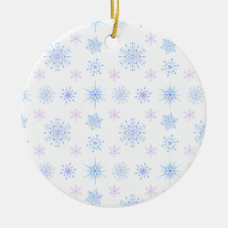 Flocons de neige magiques ornement rond en céramique