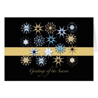 Flocons de neige (noir) pliés - carte de vacances