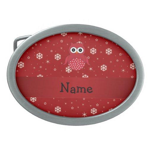 Flocons de neige nommés personnalisés de rouge de  boucle de ceinture ovale