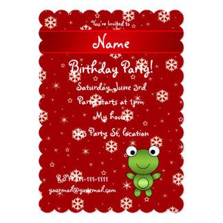 Flocons de neige nommés personnalisés de rouge de carton d'invitation  12,7 cm x 17,78 cm