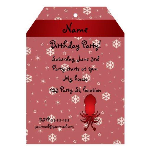 Flocons de neige nommés personnalisés de rouge de cartons d'invitation