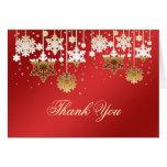 Flocons de neige sur la note rouge de Merci de mar Cartes De Vœux