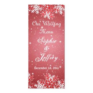 Flocons de neige sur le menu rouge de mariage de carton d'invitation  10,16 cm x 23,49 cm