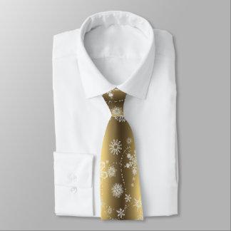 Flocons de neige sur l'or cravate