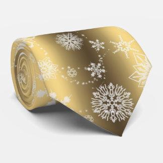 Flocons de neige sur l'or cravate customisée