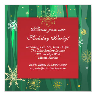 "Flocons d'or 5,25"" x 5,25"" invitation"