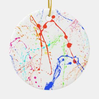 Flocs colorés de peinture ornement rond en céramique