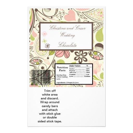 Flor rose/verte de grand de la barre de Hershey re Prospectus Personnalisés