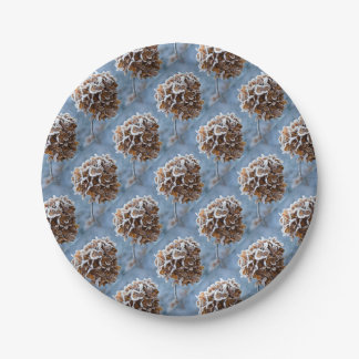 Floraison avec des cristaux de glace assiettes en papier