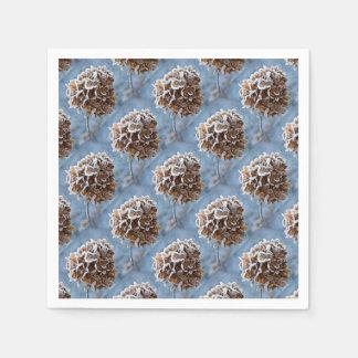 Floraison avec des cristaux de glace serviette en papier