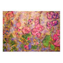 floraison de roses trémière modèle de carte de visite