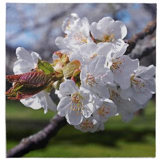 Floraisons de pomme blanc au printemps serviette en tissu