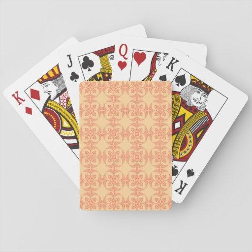 Floral assez géométrique en jaune et rouge jeux de cartes poker