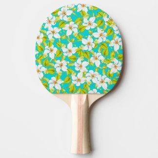 Floral blanc raquette tennis de table