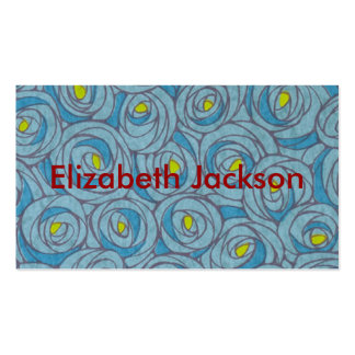 Floral bleu carte de visite standard