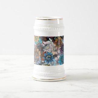 Floral bleu et brun chope à bière