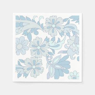 floral bleu fait sur commande de serviettes de serviettes jetables