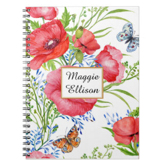 Floral bleu rouge et papillons sur la coutume carnets à spirale