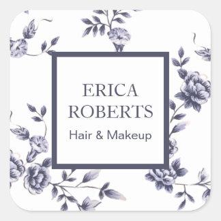 Floral bleu vintage de salon de beauté de sticker carré
