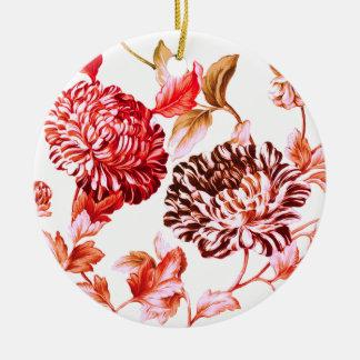 Floral botanique fané de roseraie ornement rond en céramique