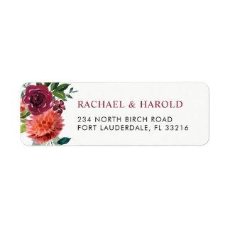 Floral botanique rouge de Marsala Bourgogne Étiquette D'adresse Retour